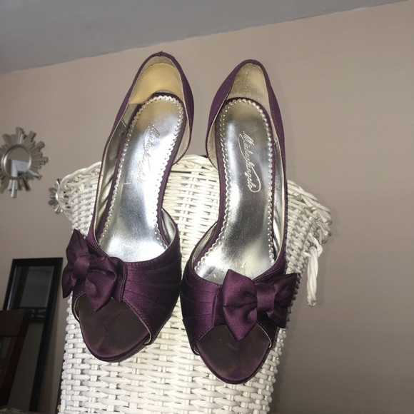 28c059b15258 David s Bridal Purple Plum Maribelle Heels